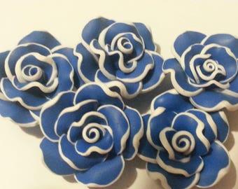 2 dark blue flower polymer clay beads