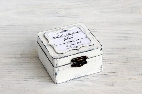 Weisse Hochzeit Personalisierte Box Chalk Board Ring Kasten Etsy