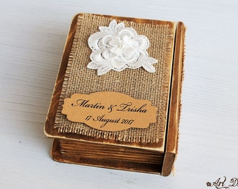 Rustic Ring Bearer Box Personalized Wedding Box Ring Holder Custom Ring Box Ring Bearer Pillow Еngagement Ring Box Wedding Ring Box Wedding