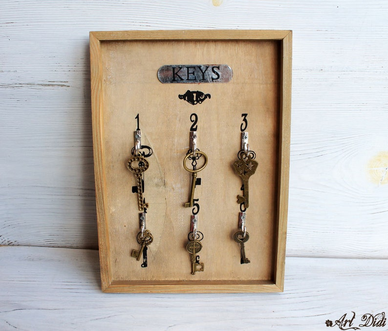 Wooden Key holder Sweethome plaque wall hanging key holder image 0