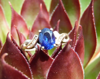 Sapphire, Diamond, Gold and Silver Ring Size 7 Fantasic But Genuine Jewelry Gemstone