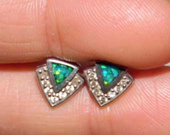 SALE! Sterling Silver 925 Earrings Shell Inlay with CZ