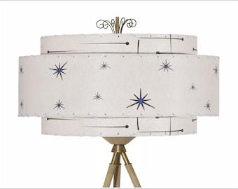 Mid Century Modern Lamp Shade / 3 Tier Fiberglass / Hand Made Atomic Lamp Shade / Custom Vintage Lighting Style 2102