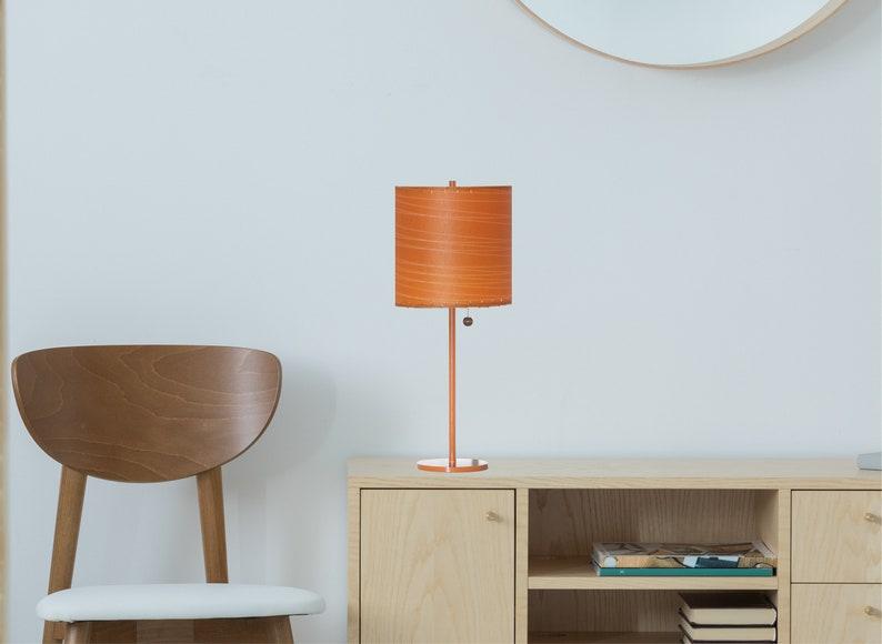 Orange Accent Lamp   Mid Century Modern Lighting  Minimalist Lamp  Hand Made Accent Lamp  Modilumi