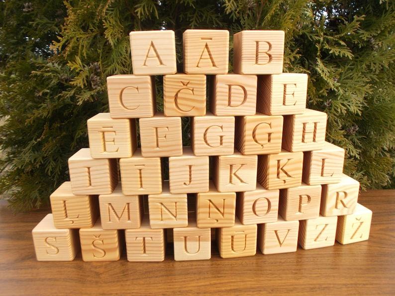 33 Wooden Latvian alphabet blocks, Educational gift, toy, gift, wooden  alphabet, wood, ABC, Latvian alphabet blocks