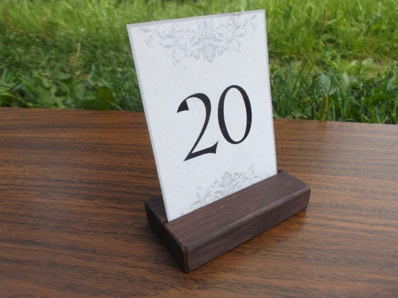 Wood Place Card Holders Table Number Holders Wedding Etsy - Restaurant table sign holders