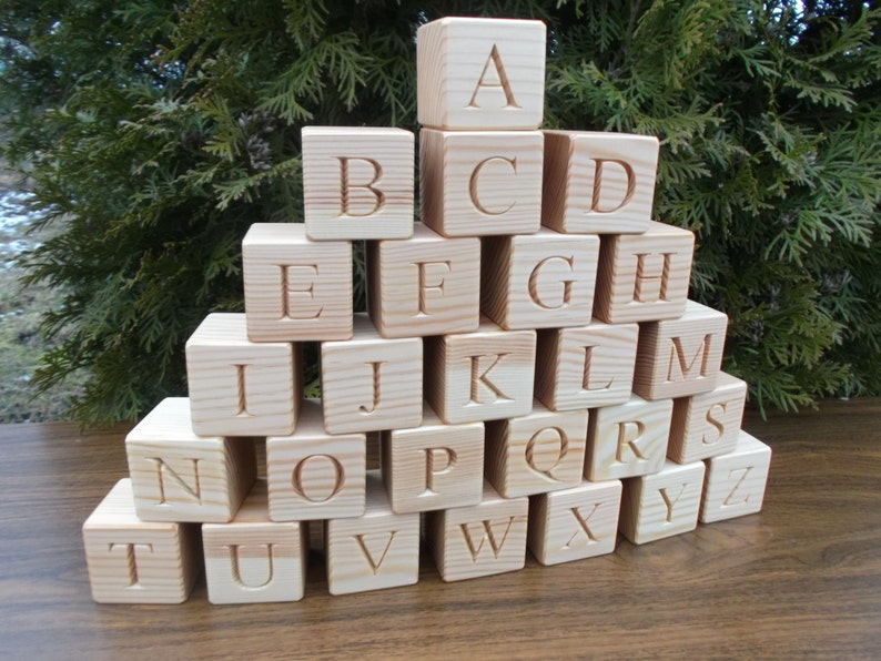 SALE 26 Wooden English Alphabet Blocks 1.6 inches ABC Wood Block Learning Wood Letter Personalized Blocks Christmas Baby Shower Black Friday