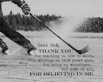 Hockey Dad Father's Day Greeting Card - Thank you for Believing in Me - 4.5x5
