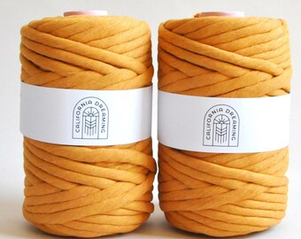 10 mm super soft LUXE macrame yarn OEKOTEX cotton rope | single strand | 46m | Mustard, for macrame, weaving, wall hangings, tapestries