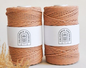 1,5 - 2,5mm Cotton Rope Twisted 3-Ply| 130m recycled| Blush Pink