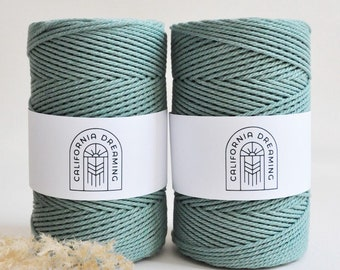 1,5 - 2,5mm Cotton Rope Twisted 3-Ply| 130m recycled| sage blue