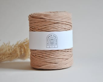 4MM Cotton Rope Single Strand | 200m Recycled Cord| Macramé Cord| Single Strand  Rope for DIY Macramé, Weaving NUDE/ BLUSH