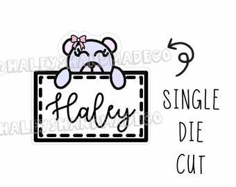 Teddy Girl Personalized Name Die Cut
