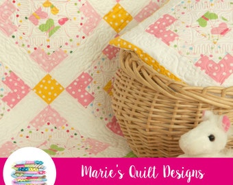 PDF Baby Quilt Pattern - Baby Girl Quilt Pattern - PDF Quilt Pattern - PDF Easy Quilt Pattern - Digital pdf - Baby Quilt - Lap Quilt