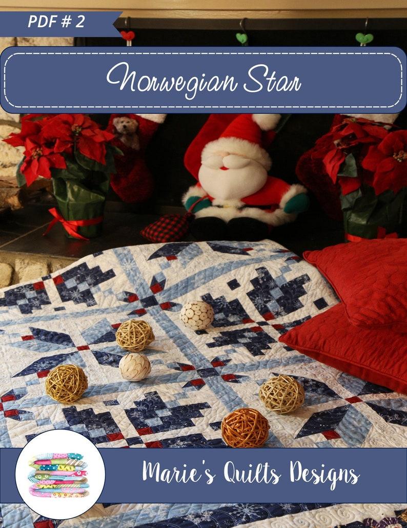 PDF Christmas Queen Quilt Pattern Digital Blue Star image 0