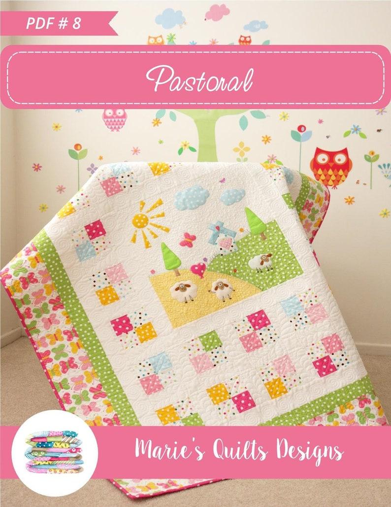 PDF Kids Baby Applique Quilt Pattern Digital Animal image 1