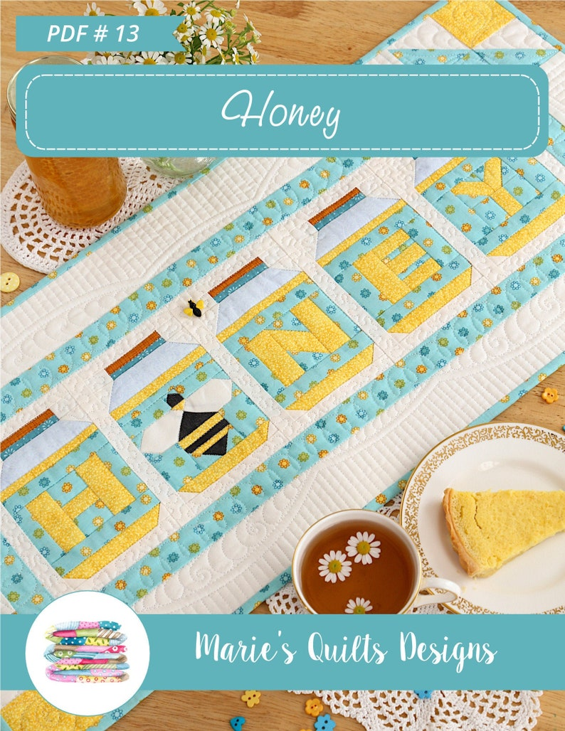 Honey Table Runner Pattern PDF Bee Block Quilt  Table Cover image 0