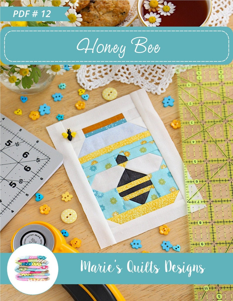 Honey Bee PDF Quilt Block Pattern 2 size Blocks image 0