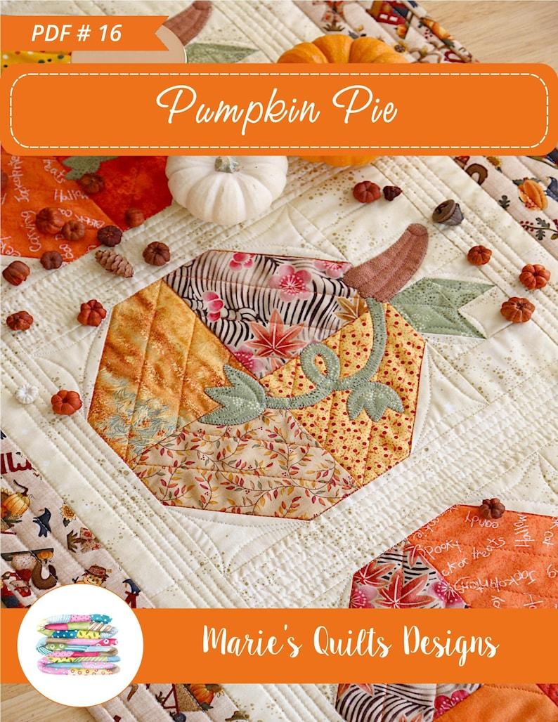 Fall Table Runner Pattern PDF Pumpkin Block Quilt image 1