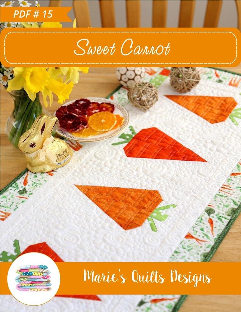 Sweet Carrot Table Runner Pattern PDF Block Quilt  Easter image 1