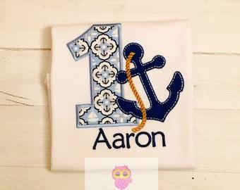 Boy nautical theme birthday shirt. Sailor birthday theme
