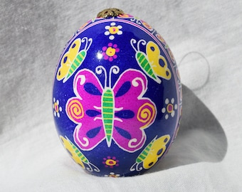 Chicken egg pysanky Ukrainian Easter Egg Pysanka Easter Egg Butterflies on purple. Made in Michigan Made in USA