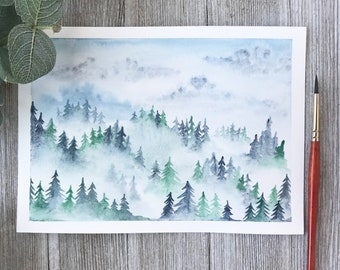 Misty Trees Watercolor Painting