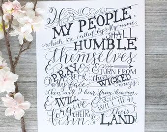 If My People | Hand Lettered Bible Verse Scripture Art Print | 2 Chronicles 7:14