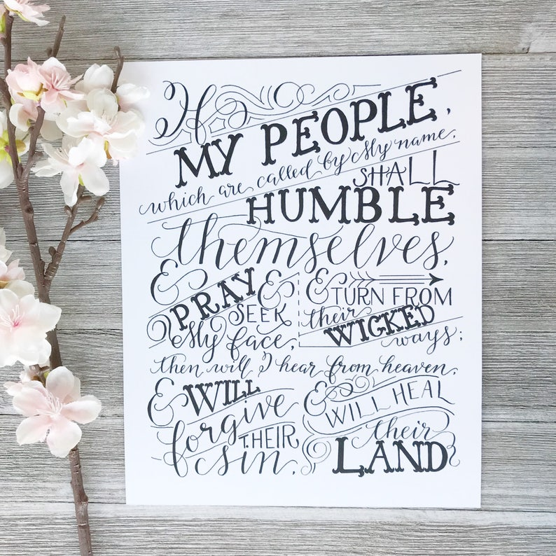 Printable File | Hand Lettered Bible Verse Scripture Art Print | If My  People | 2 Chronicles 7:14