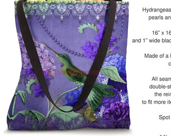 Cute Bat or Beautiful Hummingbird, Tote Bag, polyester spun for canvas-look, includes shipping to US address