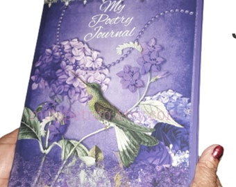 Purple Hardcover Poetry Journal, 130 pages, over 50 designs, lined pages, incl. shipping to USA address