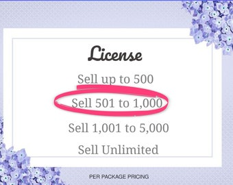 License, Sell 501 to 1,000 items, PDF digital delivery, custom