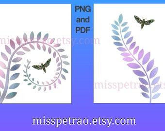Printable wall art, green moth and iridescent frond 1 and 2, digital delivery, PNG and PDF