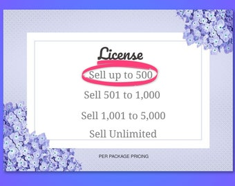 License, Sell up to 500 items, PDF digital delivery, custom
