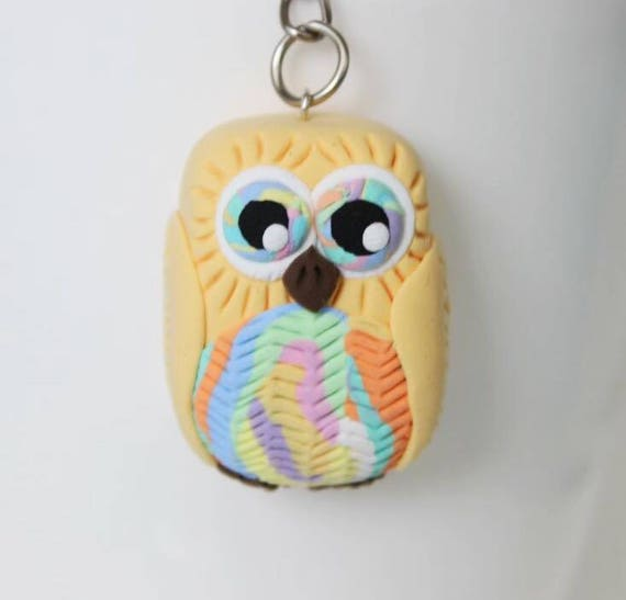 Colorful pastel yellow Owl keychain •