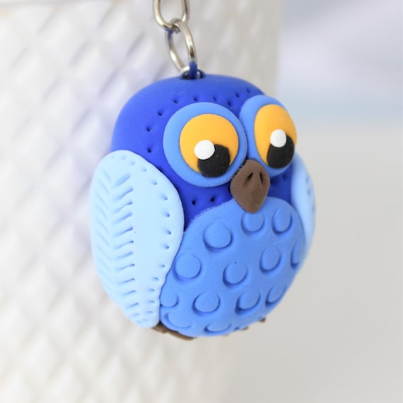 Royal Blue Owl keychain • Beautiful handmade gift idea • one of a kind accessories