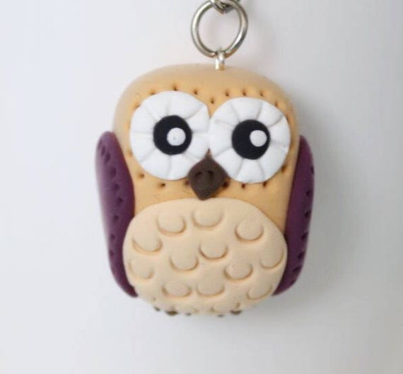 Beige Owl keychain • gift for her • one of a kind • birds •