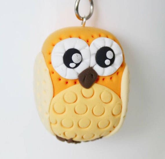 Yellow Owl Keychain • Gift idea • miniature • one of a kind •