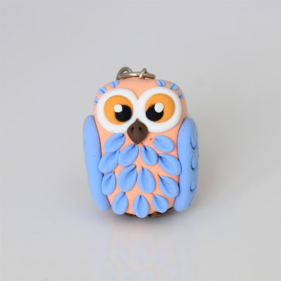 Coral and Pstel Blue Owl keychain •