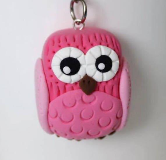 Pink Owl keychain •