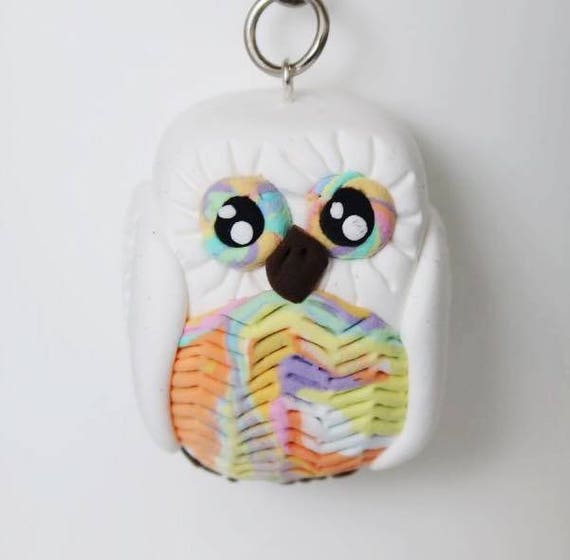 Colorful pastel white Owl keychain •