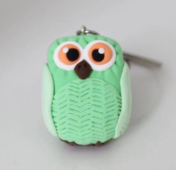 Pastel Green Owl keychain •