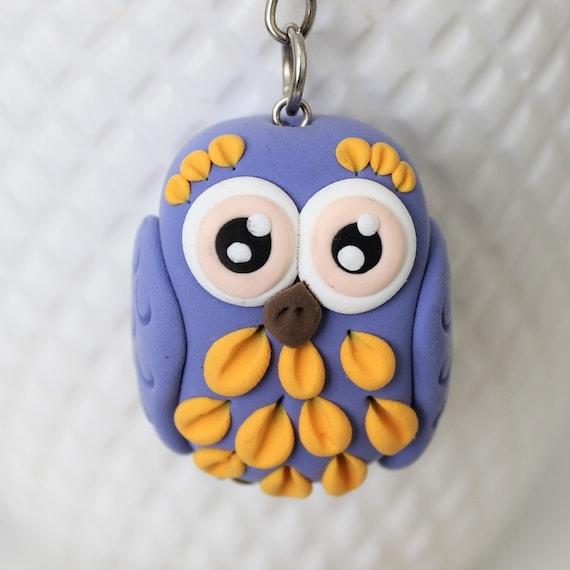 Lilach owl keychain • pink eyes • handmade doll • animal • bird