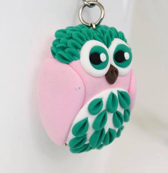 Pastel pink and green Owl keychain •