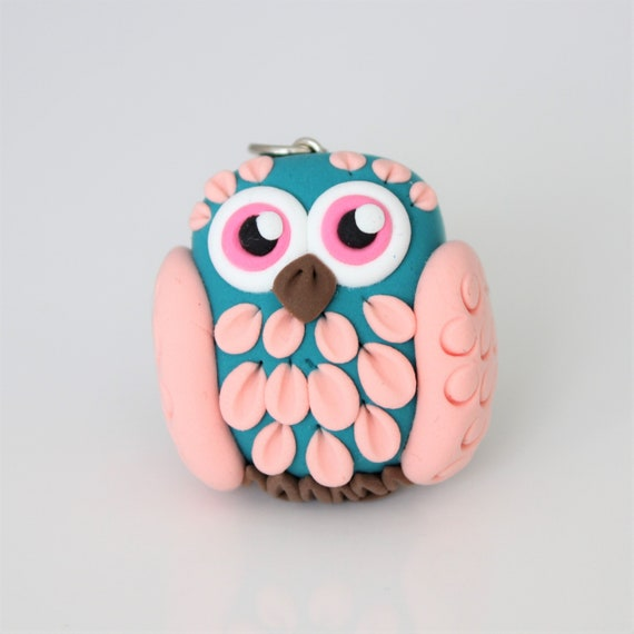 Turquoise and Pink Owl keychain • Colorful miniature • handmade gift idea •