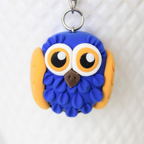 Blue and Yellow Owl keychain • One of a kind • Unique • bird • clay