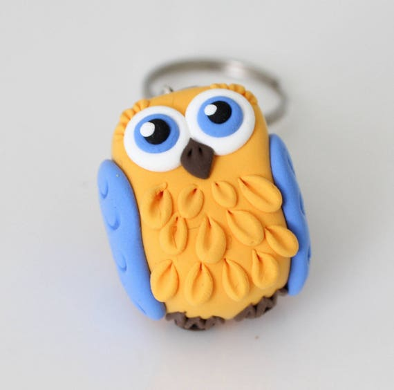 Yellow and blue Owl keychain • Unique • bird • clay
