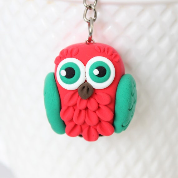 Red and Green Owl Keychain • Christmas gift idea • christmas tree decorations