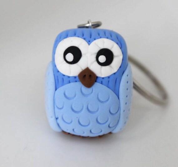 Pastel Blue Owl keychain •