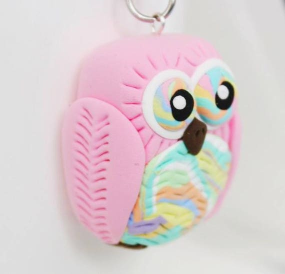 Colorful pastel pink Owl keychain •